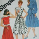 Simplicity 5325 sewing pattern misses' pullover dress & sash batau neckline size 10 uncut