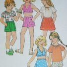 Simplicity 8040 sewing pattern girls size 4 shorts skirt halter top 1977