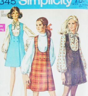 Simplicity 8345 vintage sewing pattern misses jumper &amp; blouse sz 10 uncut 1969 issue