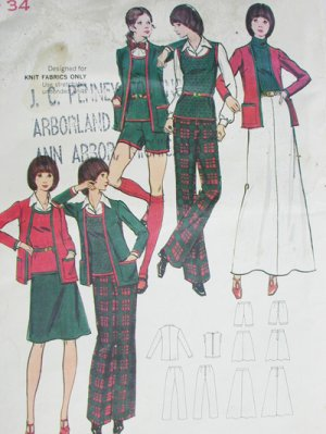 Butterick 6757 vintage sewing pattern misses jacket, sweater top Knits only outfit siz 12B34 uncut