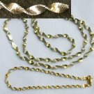 "Necklace sterling and Glo gold Italy twist chain 24"" & bracelet 8"" jewelry"