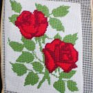 Completed finished needlepoint pillow top red roses 8x10 inches
