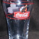 Coca Cola glass rare tilted bottle hand logo red lines