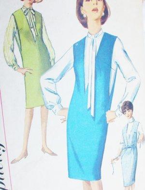 Simplicity 5482 vintage sewing pattern 1964 misses jumper V front sz 18 B38