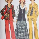 Simplicity 5302 vintage 1972 sewing pattern pants skirt vest Sz 14 B36
