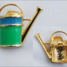 Watering can green and blue enamel pin gold tone setting unmarked