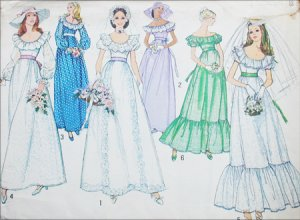 Prom Dress Patterns on 6343 Sewing Pattern 1974 Bride Bridesmaid Prom Formal Dress Sz14 B36