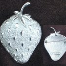 Sarah Coventry strawberry pin silver tone large marked jewelry