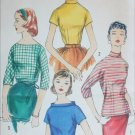 Simplicity 1727 vintage  1956 sewing pattern 4 blouses size 11 B31.5