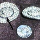 Rhinestone pin western hat black rhinestone band silver tone back jewelry