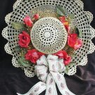 "Hand crocheted hat roses bear ribbon 15"" wall decor"