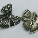 Avon clip earrings silver tone metal bows 1990