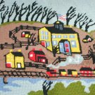 Finished completed needlepoint country scene 14 x 13 3/4 inches