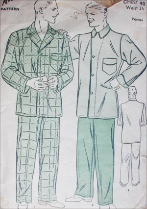 Advance 9900 vintage sewing pattern circa 1940 man's pajamas size chest 40