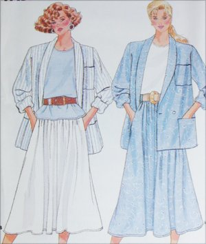 Butterick 4841 sewing pattern misses half size jacekt top skirt size L to XL UNCUT