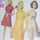 Simplicity 8491 vintage 1969 sewing pattern mod dress front seams size 12 B34