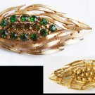 Lisner vintage gold tone leaf pin green rhinestones in center marked jewelry brooch