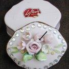 Lefton vintage 1950s pink china trinket box rhinestones and flowers