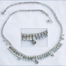 Pronged rhinestone choker necklace 14 inches double tier setting jewelry