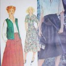 McCall 6184 sewing pattern shirt skirt reversible vest size 10 B 32 1/2 UNCUT