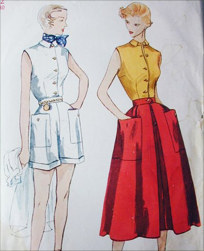 Simplicity 3160 vintage 1950 sewing pattern blouse skirt shorts size 12 bust 30