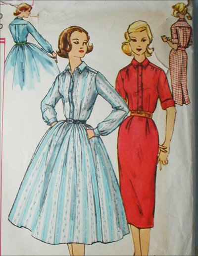 Simplicity 2149 vintage 1957 sewing pattern dress full or straight skirt size 10 B30