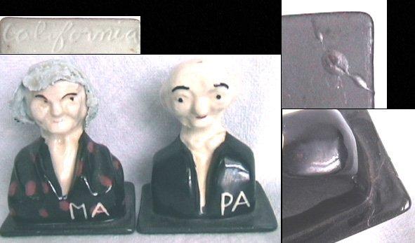 California pottery Ma & Pa salt & pepper shakers