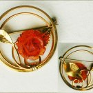 Gold filled 1/20 KT circle pin plastic amber rose and leaf design beautiful vintage jewelry