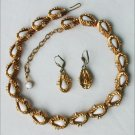Vintage West Germany demi parure jewelry set necklace earrings white beads rhinestones gold tone