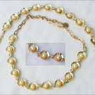 Leru marked vintage jewelry necklace bracelet gold tone pearls rhinesones set