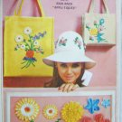 Simplicity 6430 vintage 1966 sewing pattern hat bags with transfers