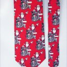 Man's Santa Christmas tie red background Stafford 100% silk necktie