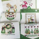 6 Homespun fabric patches Christmas for appliques quilts or accents