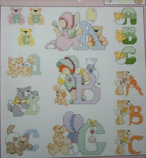 Cross stitch pattern booklet Alphabets for baby Leisure Arts