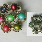 Vintage pin multicolored marble like 3/8 inch stones silver tone jewelry
