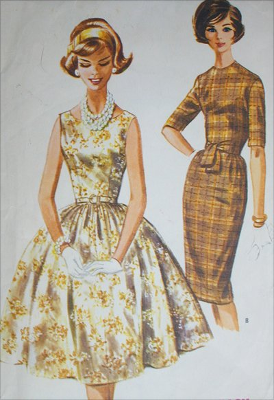 McCall 6038 misses slim or full skirt dress size 18 B38 vintage 1961 sewing pattern