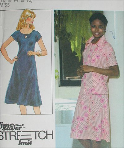 Simplicity 8416 dress sizes 12 14 16 Stretch Knits only 1978 sewing pattern UNCUT
