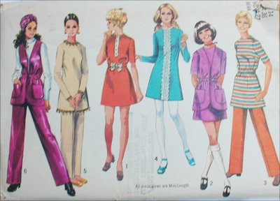 Simplicity 9029 mini dress pants vest size 14 B36 vintage 1970 sewing pattern