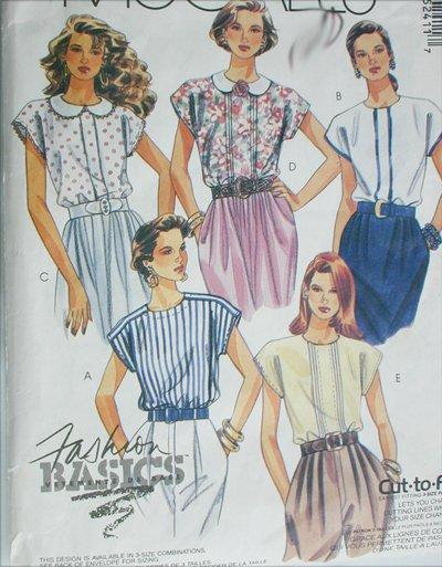 McCall 5241 summer blouses sewing pattern sizes 6 8 10