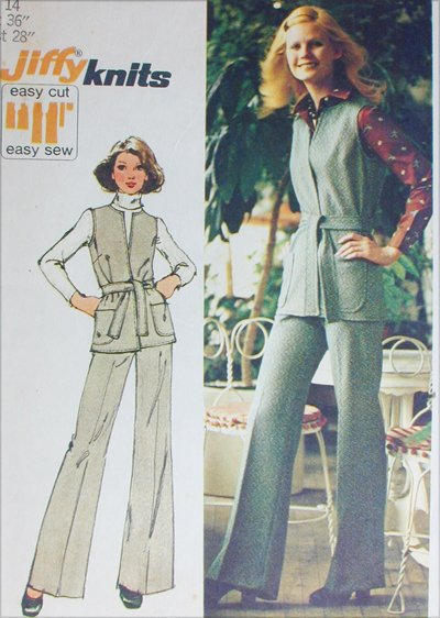 Simplicity 5858 misses pants vest size 14 B36 stretch knits sewing pattern
