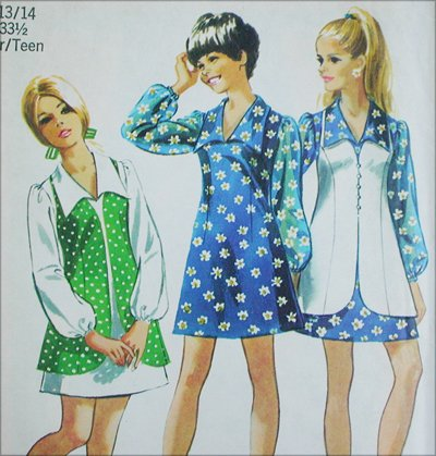 Simplicity 8710 mini dress vest size 13 14 vintage 1970 sewing pattern