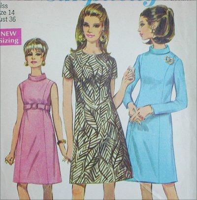 Simplicity 7431 A line dress sewing pattern vintage 1967 size 14 B 36