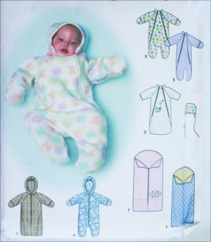 Simplicity 9418 baby blanket bunting hat sewing pattern sizes XXS XS S