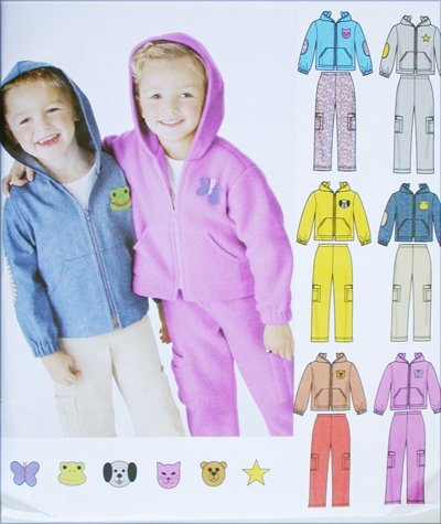 Simplicity 5378 childs pants hooded jacket with appliques sizes 2 3 4 5 6 6X UNCUT pattern