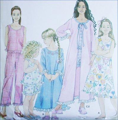 Simplicity 9292 girls sleepwear nightgown pajamas robe sizes 3 4 5 6 UNCUT pattern