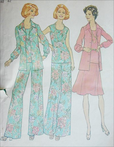 Simplicity 6854 misses skirt pants top jacket sizes 18 20 pattern 1974 vintage