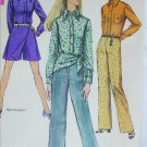 Simplicity 8400 misses mini pantskirt shirt hiphugger pants scarf size 14 B36 vintage 1969 pattern