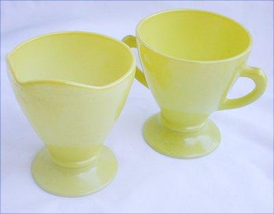 Hazel Atlas lemon yellow cream sugar moderntone fired on color set