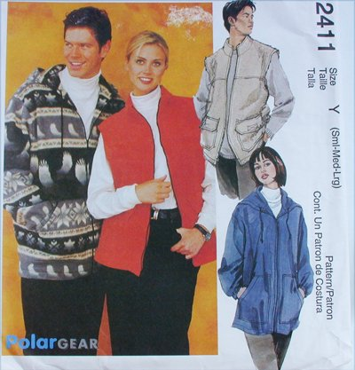 McCall 2411 misses mens unlined jacket vest sizes S M L UNCUT sewing pattern