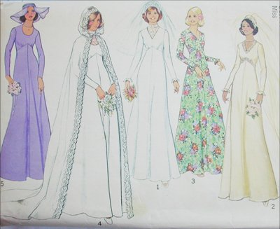 Simplicity 7284 vintage 1975 bridal bridesmaid gown train veil size 12 B34 sewing pattern